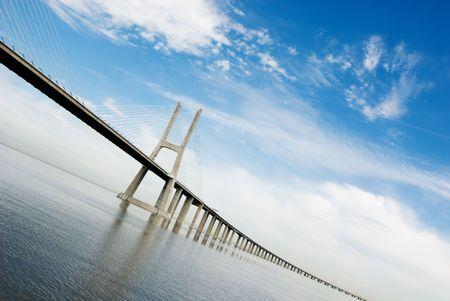 Vasco da Gama Bridge over the tagus river is the largest bridge in all Europe