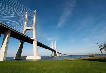 tagus: Vasco da Gama Bridge over the tagus river is the largest bridge in all Europe
