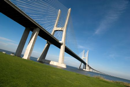 Vasco da Gama Bridge over the tagus river is the largest bridge in all Europe