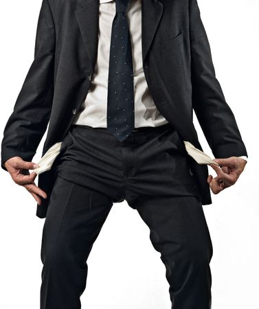 moneyless: business man with empty pockets, concept of failure, moneyless, white background