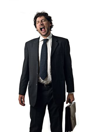 tired business man with open mouth, white background