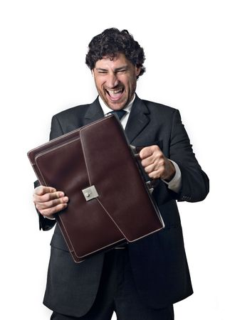 very happy business man after doing business