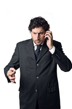 confident business man talking on mobile phone Stock Photo