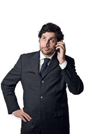 business man talking at mobile phone considering .... Stock Photo - 3050752