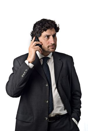 businessman talking on the mobile phone, white background Stock Photo - 3069074