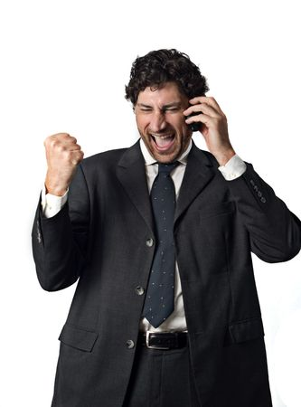 successful businessman talking on the mobile phone, white background Stock Photo