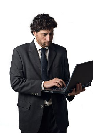 accessing: businessman on the internet accessing www, white background