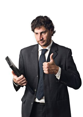 businessman with laptop, happy thumbs up