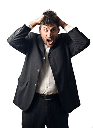 businessman in a rage, mad, screaming photo