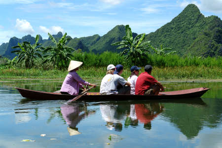 Boat to Perfume Pagoda Stock Photo