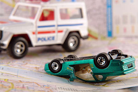 collisions: Car crash and police rescue team