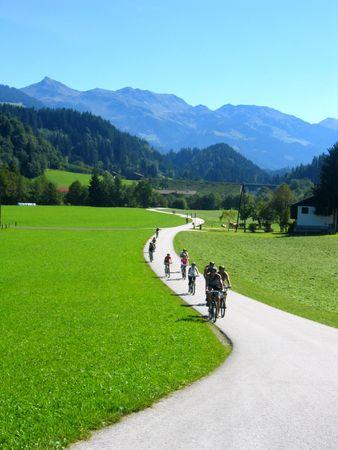 mountain biking in the austrian mountains photo