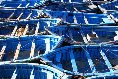 dinghies: blue fishing boats at essaouira, morocco