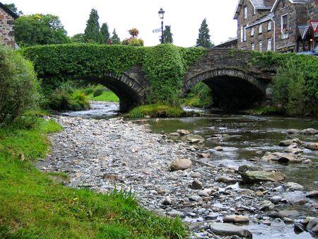 watercourse: Bridge in small town Wales