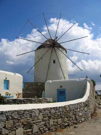 wind force: Windmill in Mykonos, Greece
