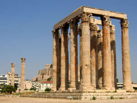 Temple of Olympian Zeus with Acropolis in background Stock Photo