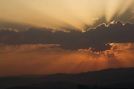 sunrise with eolic towers