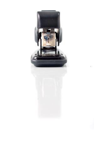 black stapler in white background Stock Photo