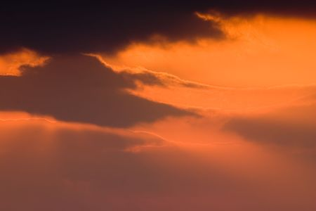 Beautiful red sky at the sunset in fuerteventura Stock Photo