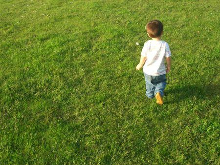 walking alone: ni�o caminando solo en la hierba Foto de archivo