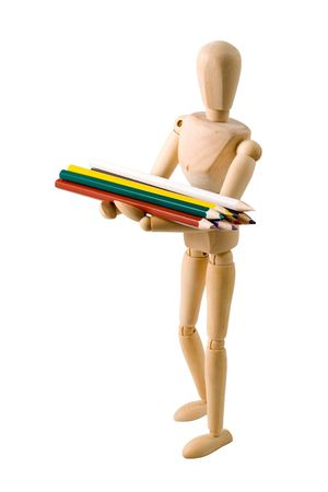 woodmodel holding a set of pencils with clipping paths Stock Photo