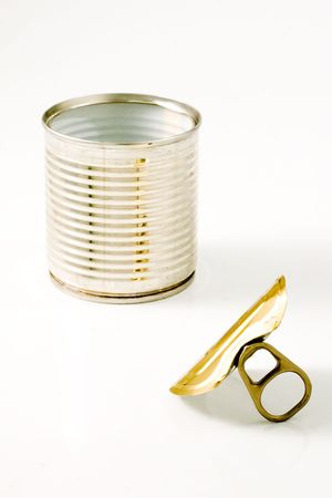 Isolated aluminum can opened in white background Stock Photo