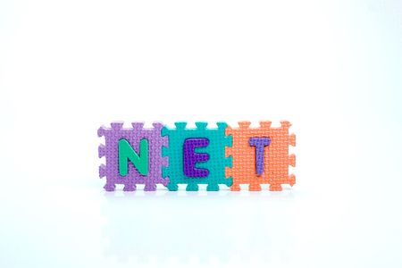 Colorful toy letters on spelling Net isolated in white background photo