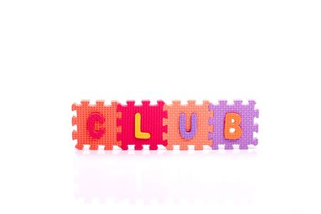 Colorful toy letters on spelling CLUB isolated in white background Stock Photo