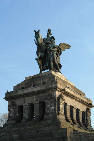 unified: Statue of imperator Wilhelm at the Deutsches Eck in Koblenz Stock Photo