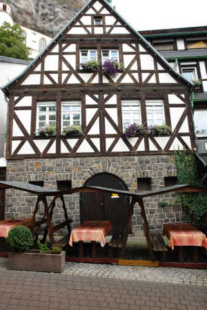 workhouse: Half-timbered house in black and white - in a traditional german village Stock Photo