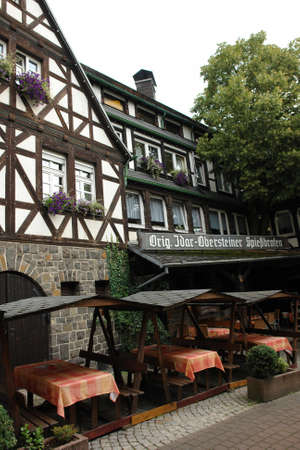 Half-timbered house in black and white - in a traditional german village