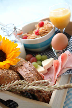 Breakfast tray with different kind of things you eat at breakfast, brunch or late lunch