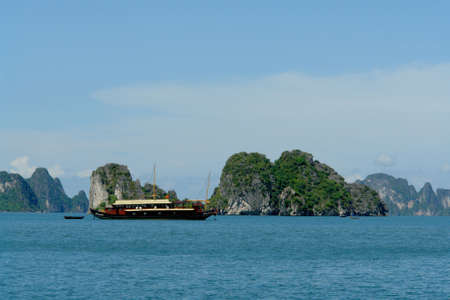 ha: Tourist boat in Ha Long Bay Stock Photo