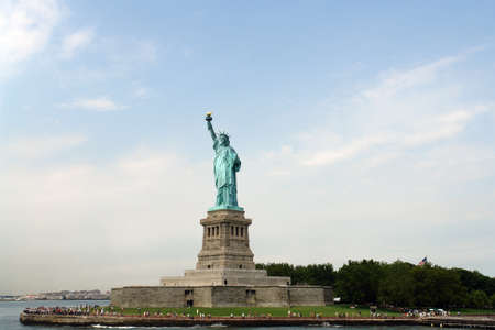 Statue or Lady liberty on Liberty Island in New York    Stock Photo