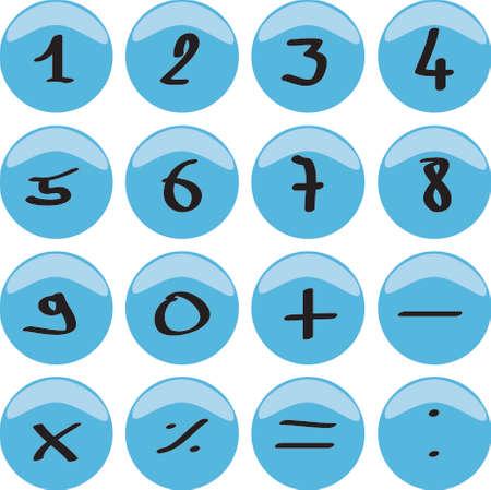 signos matematicos: Web bot�n con los n�meros 0 a 9 y los signos matem�ticos  Foto de archivo