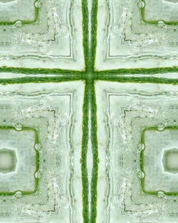 crux: kaleidoscope cross:  ice layer on pine needles 7 Stock Photo