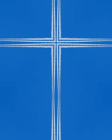 crux: kaleidoscope cross:  jet contrails on blue sky 2