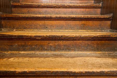 worn: old worn wooden staircase