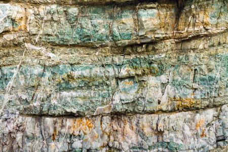 sedimentary: layers of colorful chert, Rainbow Rock, Brookings, Oregon Stock Photo