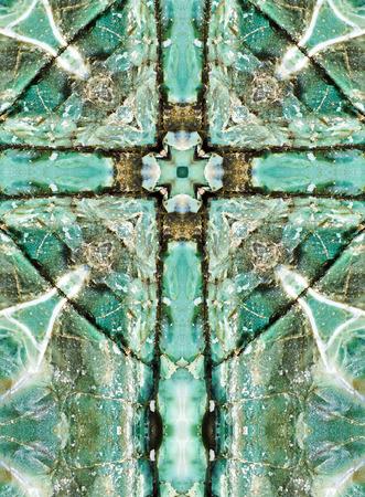 cruz religiosa: caleidoscopio cruz, capas de chert azul, costa de Oregon