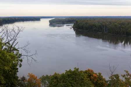 mississippi: Mississippi River on cloudy fall day, Hannibal, Missouri