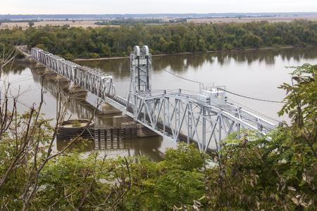 mississippi river: Wabash Bridge, lift bridge over Mississippi River at Hannibal, Missouri Stock Photo