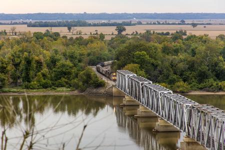 mississippi river: freight train approaching Wabash Bridge, Hannibal, Missouri Stock Photo