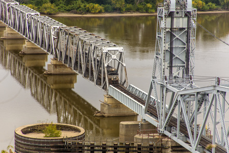 freight train: freight train crossing Wabash Bridge, Hannibal, Missouri