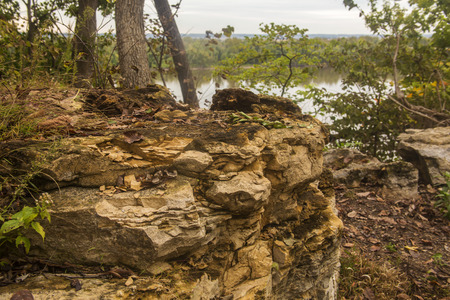 bluff: eroded limestone on bluff over Mississippi River at Hannibal, Missouri