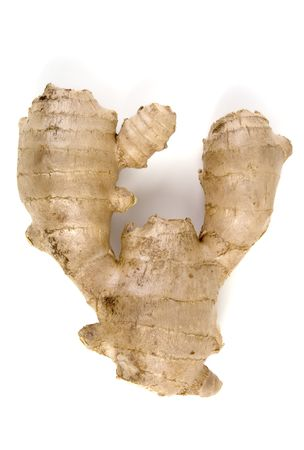 asian produce: Ginger Root (Zingiber Officionale), isolated, 12MP camera. Stock Photo