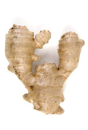 asian produce: Ginger Root (Zingiber Officionale), isolated, 12MP camera. Stock Photo