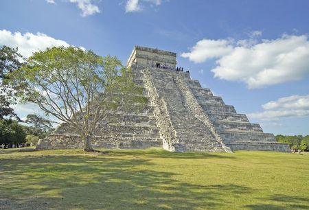 Chichen Itza pyramid with tree in Mexico. (14MP camera, super detail) Stock Photo