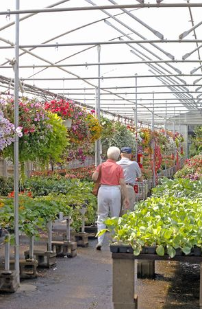 Elderly couple shopping in a nursery. (12MP camera). Focus is on the couple. Stock Photo