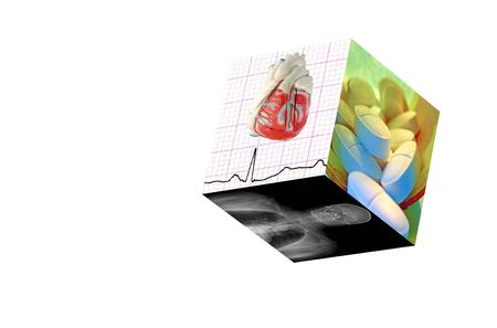 Medical Cube with 3 photos:1)Real EKG with a model . 2)MRI of a male human. 3) Prescription Pills (8MP camera, isolated)